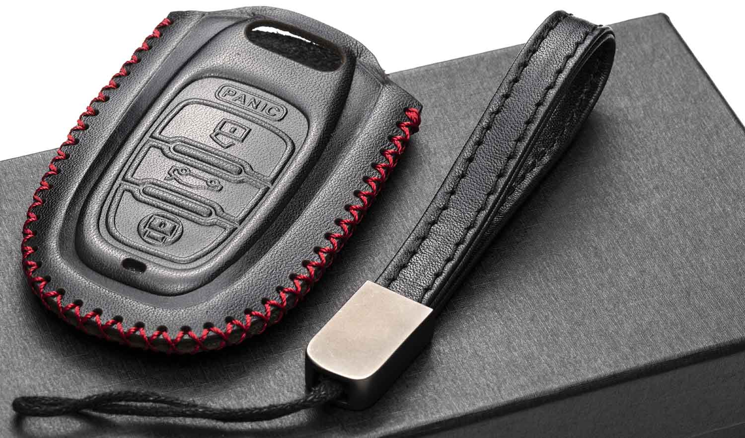 A6 A5 S5 RS 4 Buttons, Black S7 A7 A4 Vitodeco leather Keyless Entry Remote Control Smart Key Case Cover with a Key Chain for Audi A3 Q5